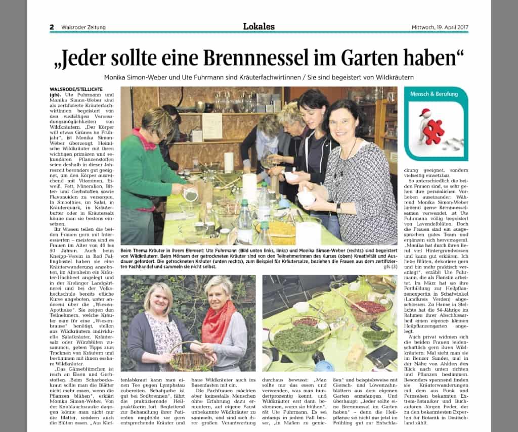 Artikel aus der Walsroder Zeitung vom 19.04.2017, Autorin: Gudrun Fischer-Santelmann