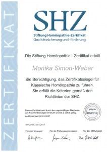 Zertifikat der Stiftung Homöopathie für Monika Simon-Weber - gültig bis 03/2019
